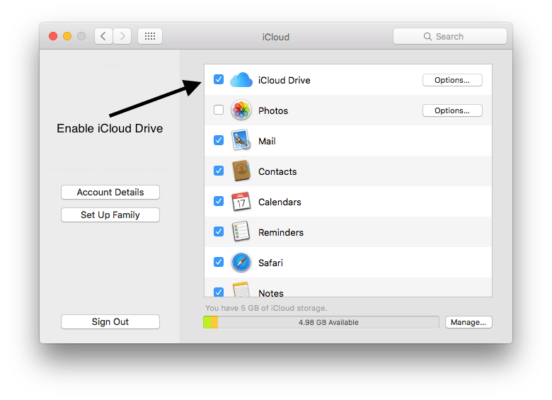 Step 2: Enable ICloud In File Cabinet Pro.