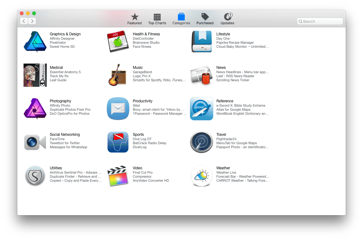 Mac App Store screenshot of categories tab.