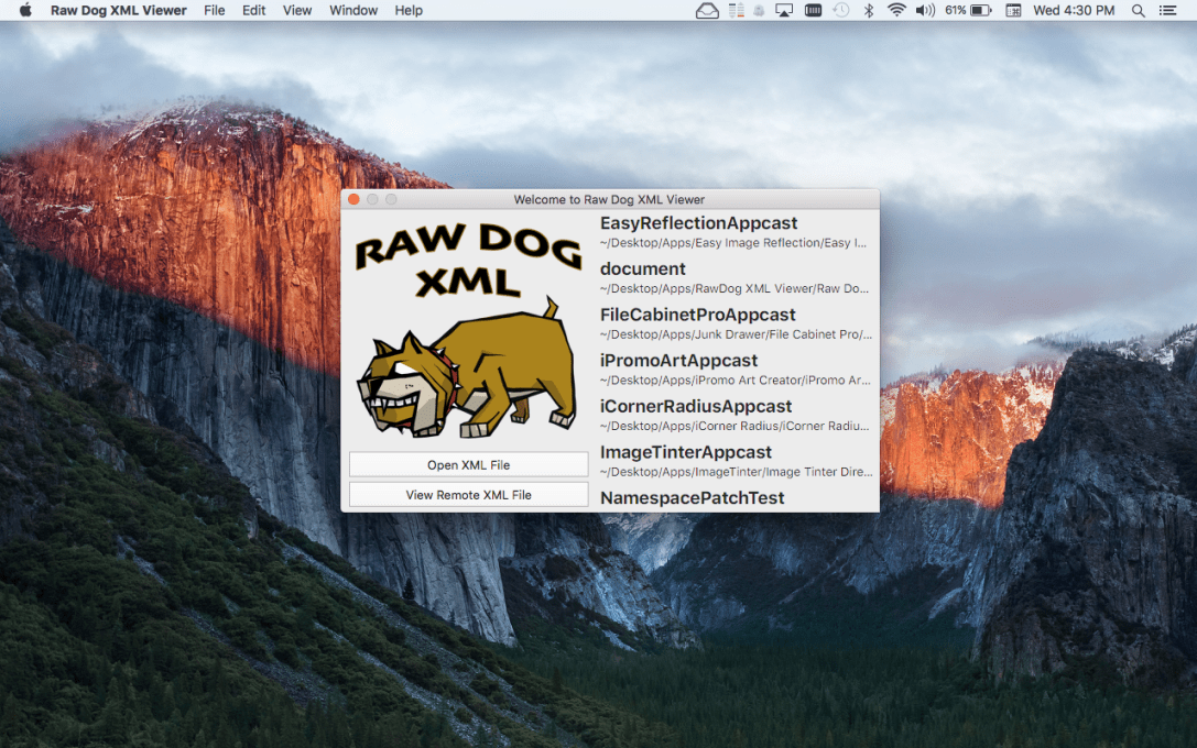 Raw Dog XML Viewer Welcome Window Screenshot.