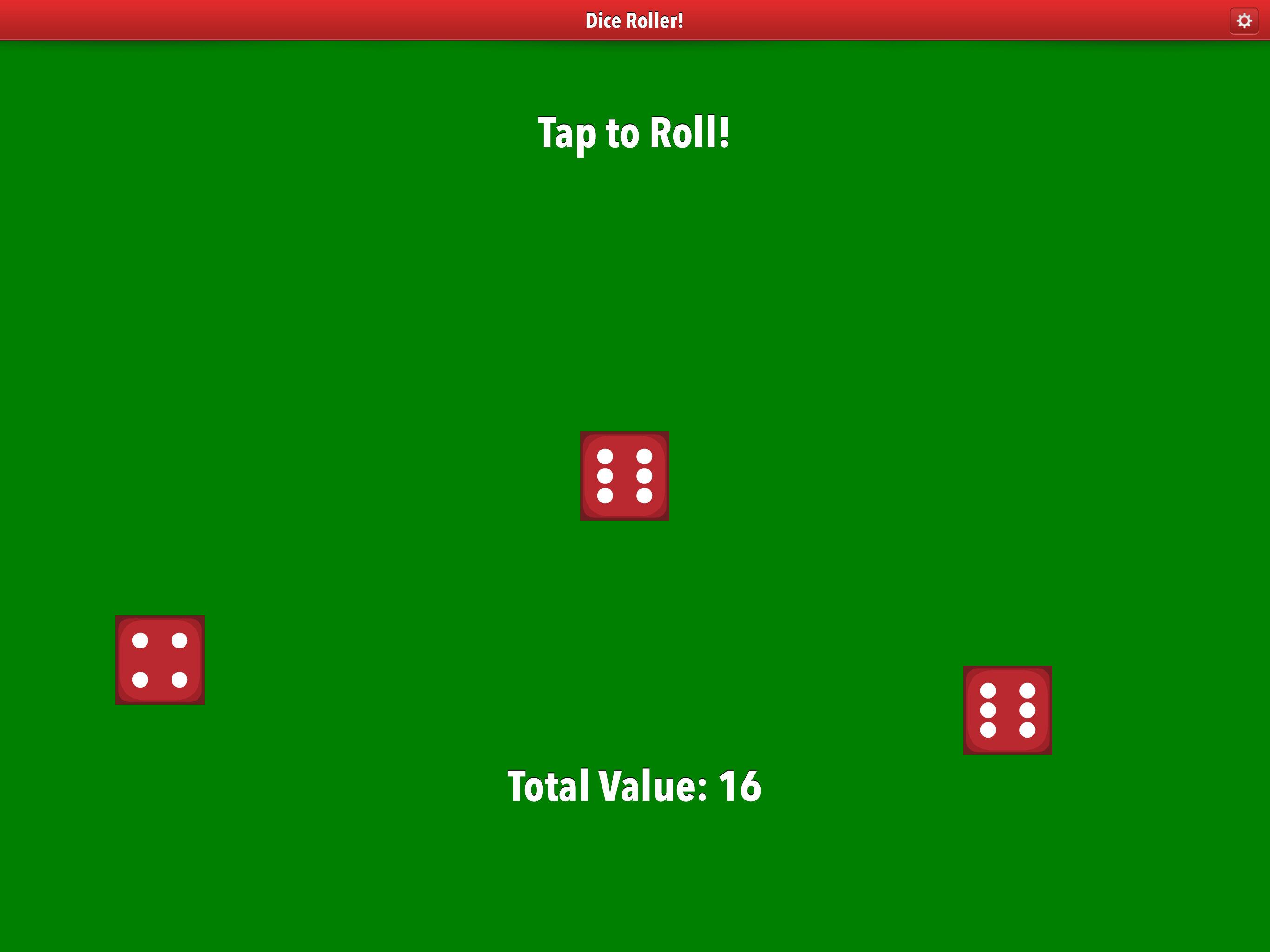 Dice Roller app iPad Pro screenshot three dice.