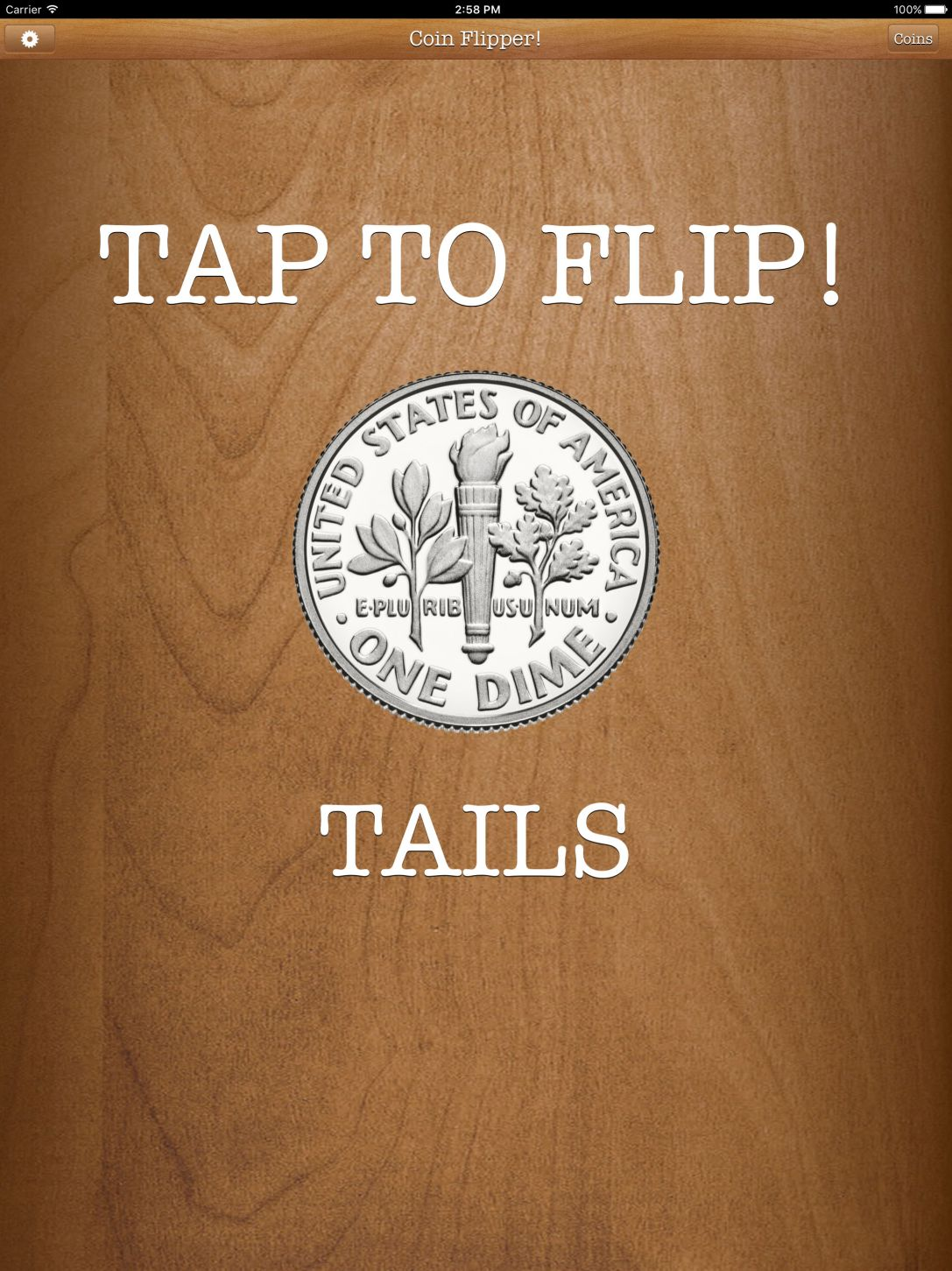 Flip a Coin App iPad Pro screenshot dime on tails.
