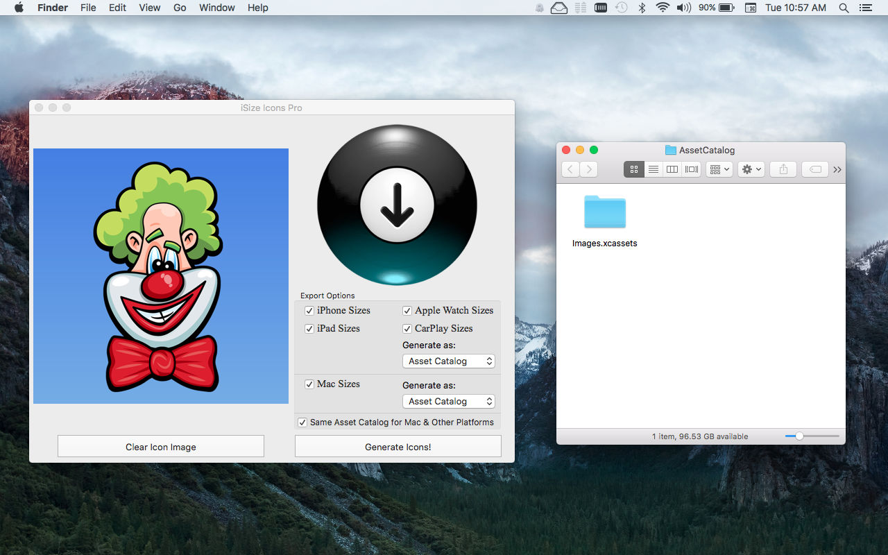 iSize Icons Mac App screenshot showing Laugh Clown icon dragged in main window.