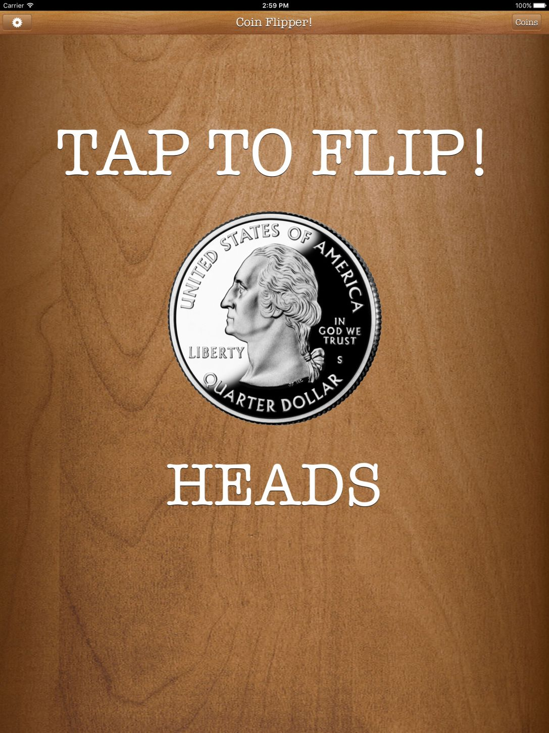 Flip a Coin App iPad Pro screenshot quarter on heads.