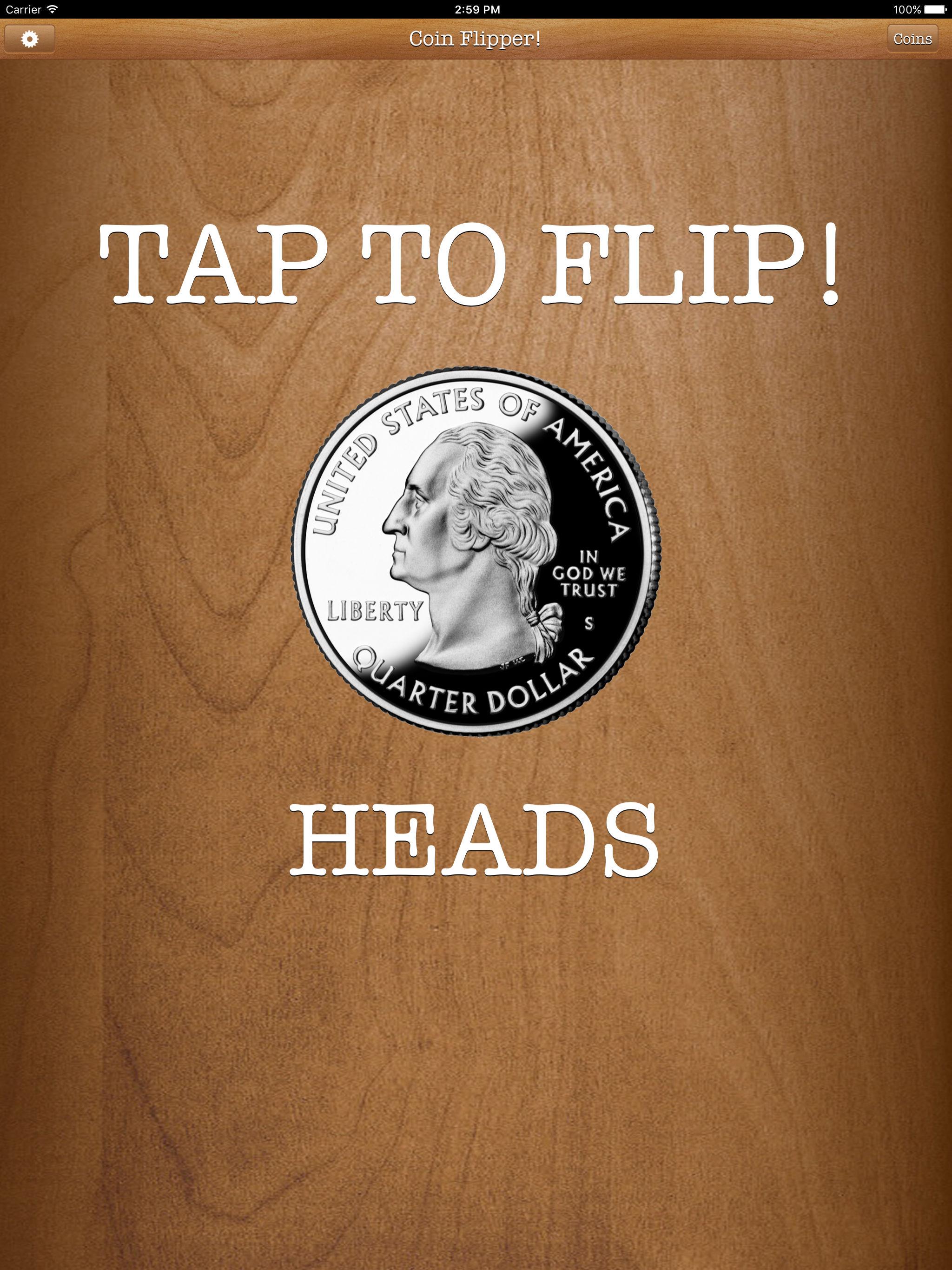 Flip a Coin App iPad Pro screenshot quarter on heads.