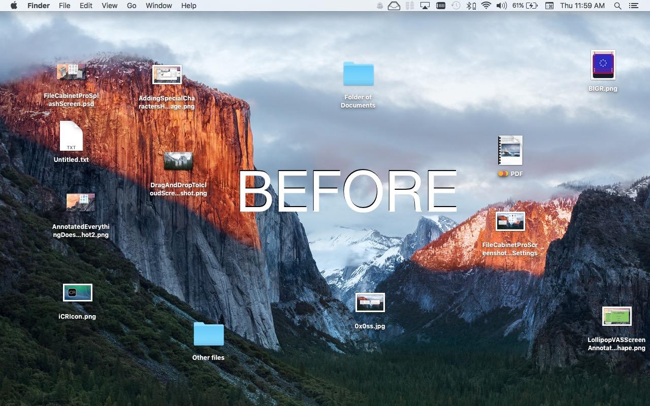 Desktop Ghost Pro Mac app screenshot annotated 'before''.