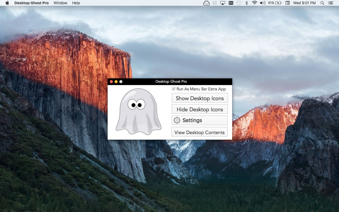 Desktop Ghost Pro version 1.5 Mac app screenshot of main window.