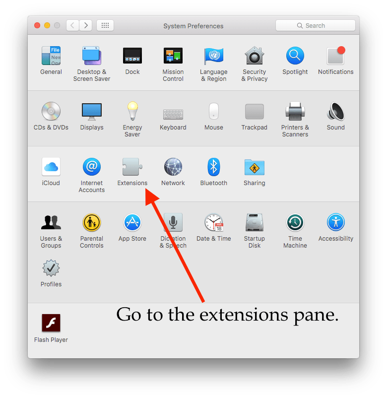 Screenshot of System Preferences on OS X El Capitan annotated instructions 'Go to extensions pane.'