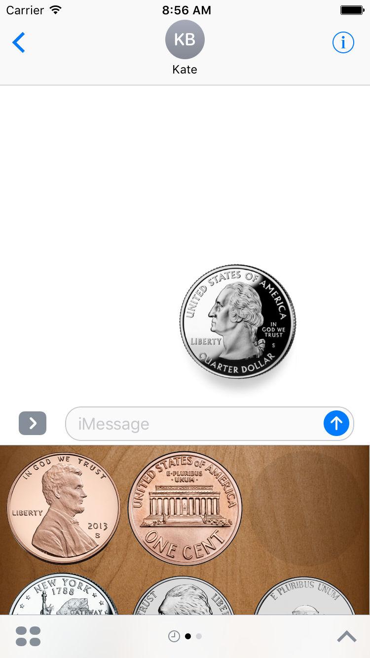 Flip a Coin App Messages Sticker Pack quarter.