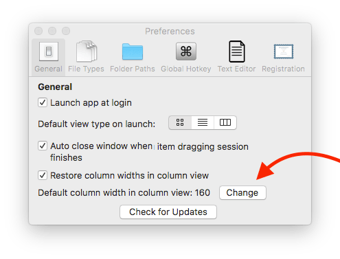 Settings window screenshot arrow pointed to the change column width button.