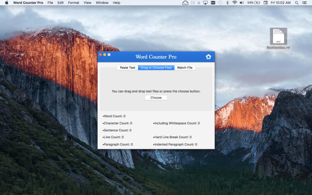 Word Counter Pro Mac App screenshot with Drag or Choose Files tab selected.