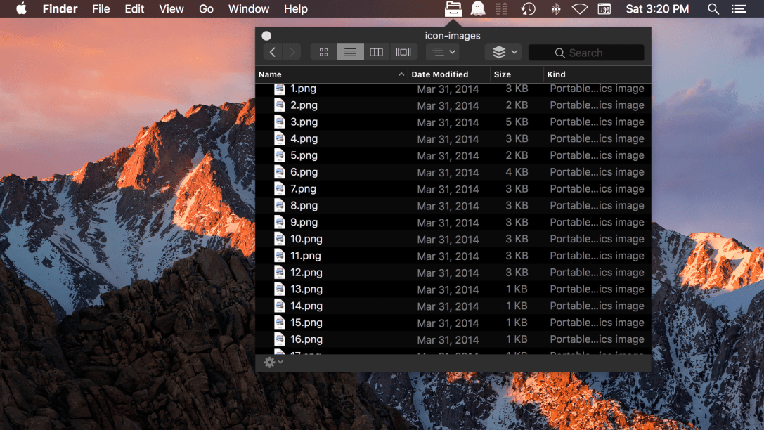 File Cabinet Pro Mac app screenshot of list view in dark mode.