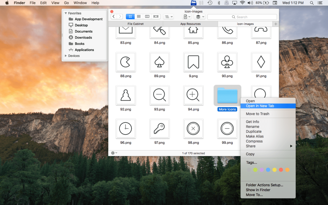 File Cabinet Pro Mac App screenshot showing 'New Tab' menu item in pop up menu.