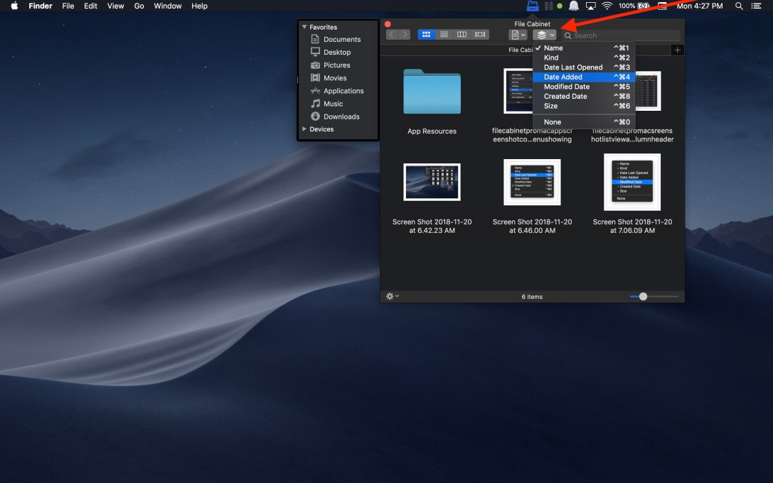File Cabinet Pro Mac app screenshot arrow pointing to arrange toolbar item.