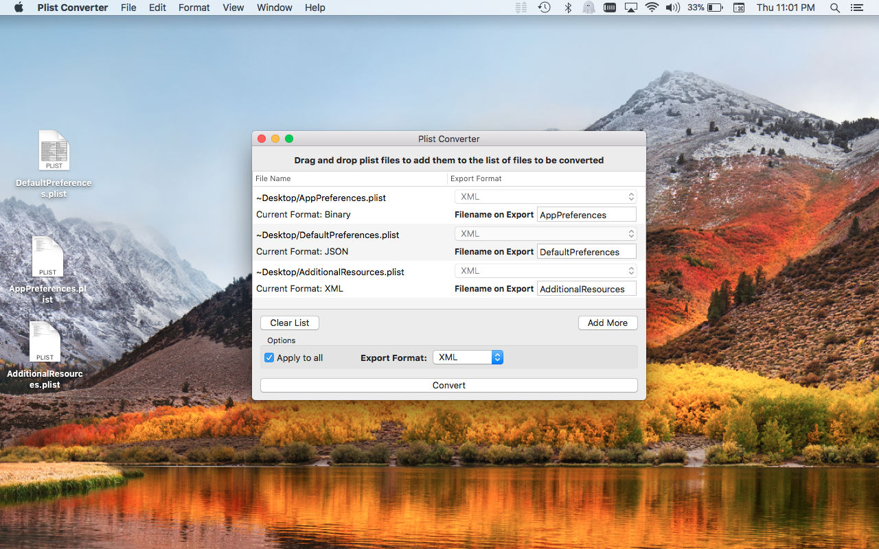 Plist Converter Mac app screenshot in Light Mode.