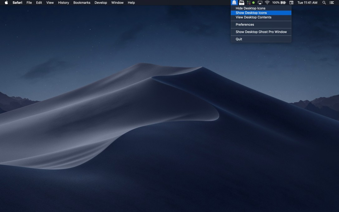 Desktop Ghost Pro Mac app screenshot in dark mode as menu bar app.