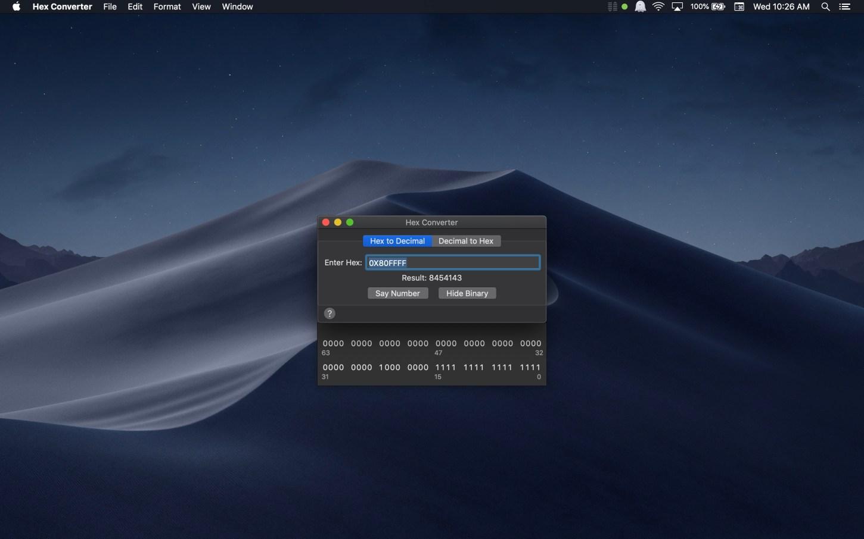 Hex Converter Mac app screenshot hex to decimal binary showing