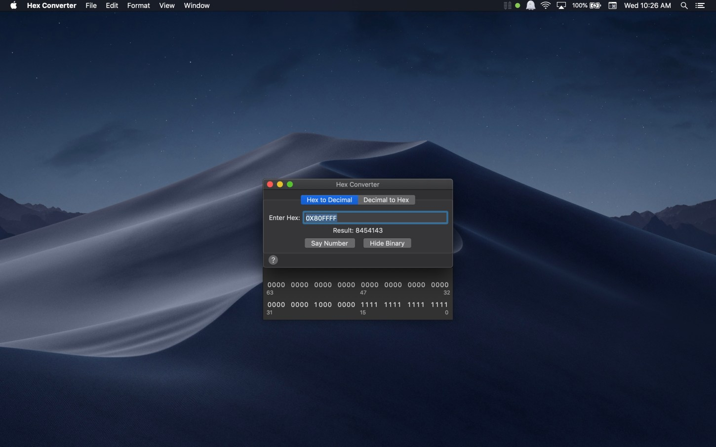 Hex Converter Mac app screenshot hex to decimal binary showing