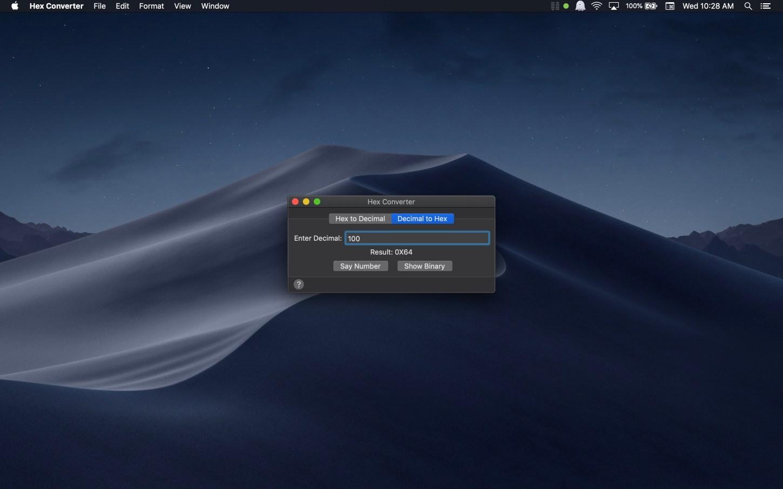 Hex Converter Mac app screenshot showing decimal to hex conversion.