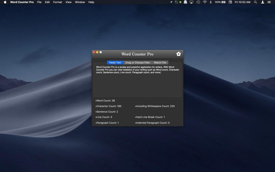 Word Counter Pro Mac app screenshot in dark mode.