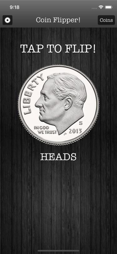 Flip a Coin App iPhone 11 screenshot dime on heads in dark mode.