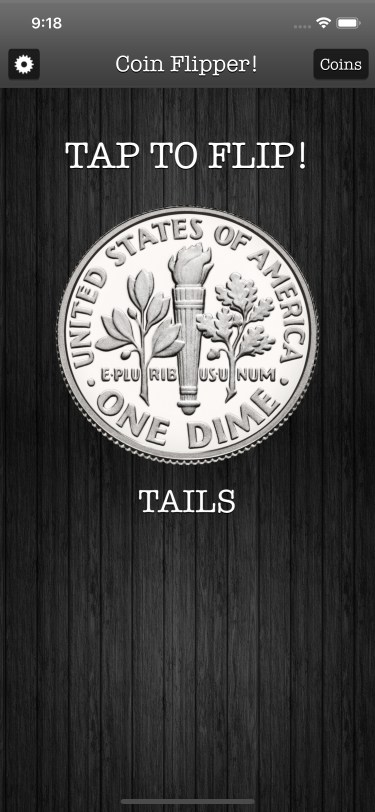 Flip a Coin App iPhone 11 screenshot dime on tails in dark mode.