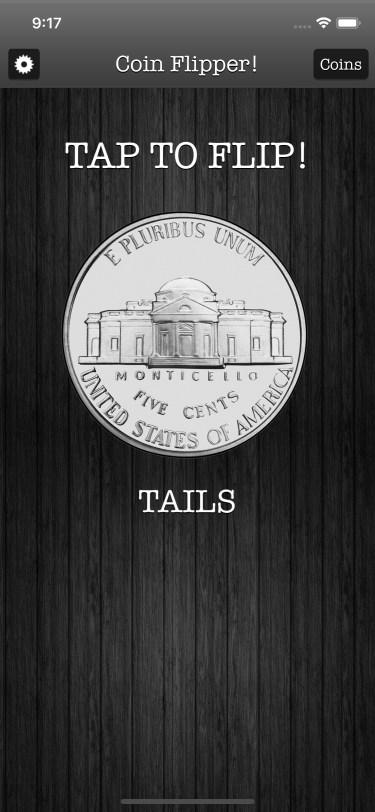 Flip a Coin App iPhone 11 screenshot nickel on tails in dark mode.