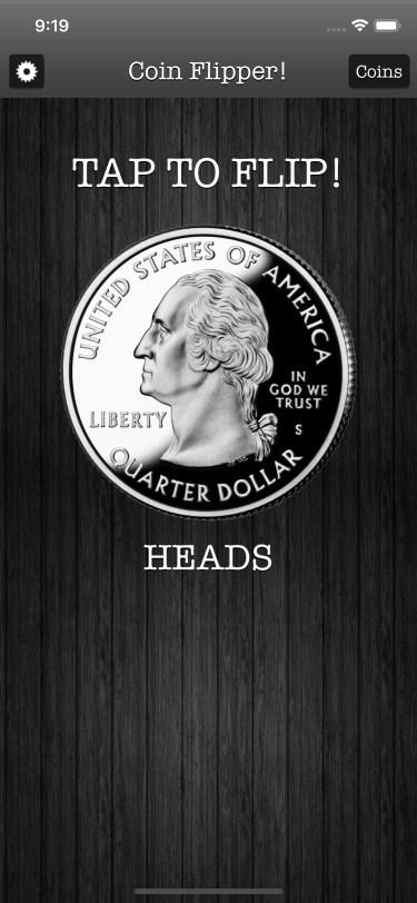 Flip a Coin App iPhone 11 screenshot quarter on heads in dark mode.