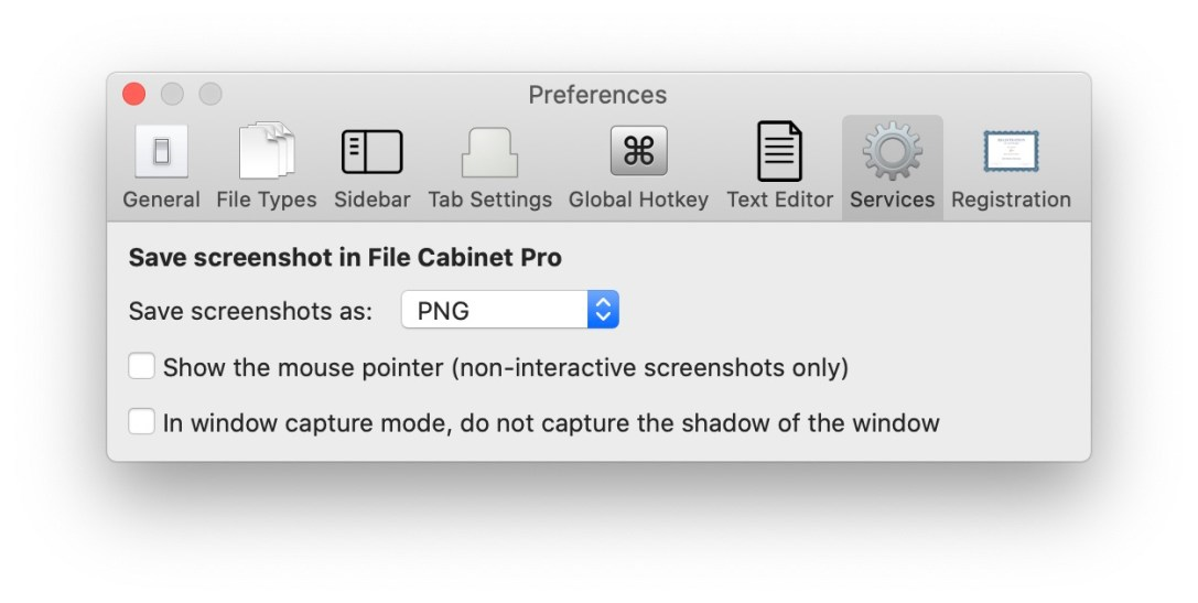 """File Cabinet Pro Mac app screenshot of the new """"Services"""" area in Settings introduced in version 7.9.6."""