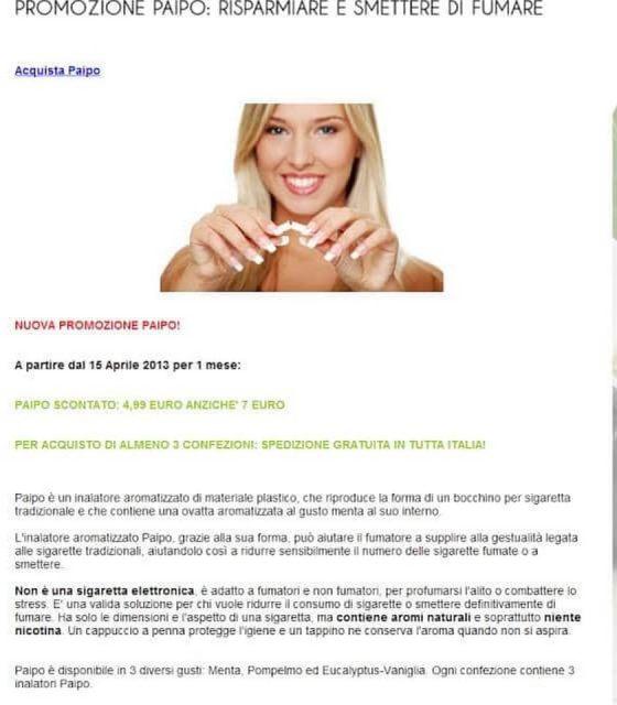 Promozione Paipo: Risparmiare e smettere di fumare 1 fumo
