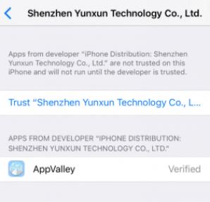 AppValley Trust the app in Settings update