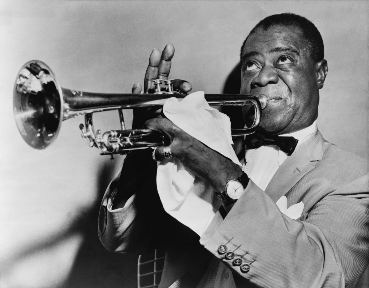 Louis Armstrong Playing Trumpet