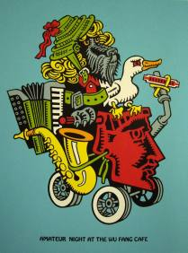 Amateur Night at the Wu Fang Cafe, 2010; Screenprint; Image: 20 x 15 inches