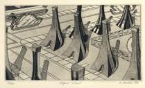 Elegant Suburb, 1979; Engraving on plexiglass; Image: 9 3/4 x 14 inches