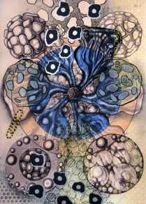 Radiolaria #2, 2007; Inkjet, screenprint, painting; Image: 20 x 13 inches