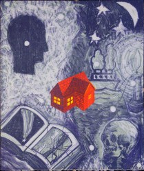 Winter, 1995; Lithograph; Relief, collage; Image: 17 3/4 x 15 inches