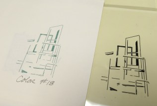 """The line drawing transparency and the printed result for """"Art Door: Aaron Copland..."""""""