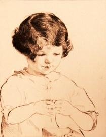 Elizabeth Telling (1882-1979); Patty Stringing Beads, 1927; Drypoint; Image: 7 x 5 3/4 in.