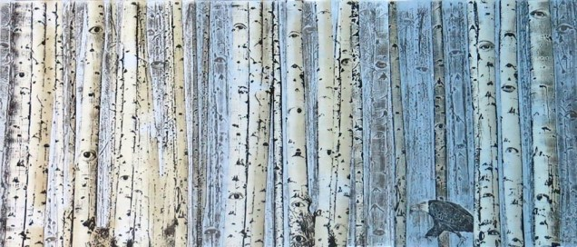 Mary Hood; Forest of Eyes, 2010; wood relief; image: 20x46.5 inches