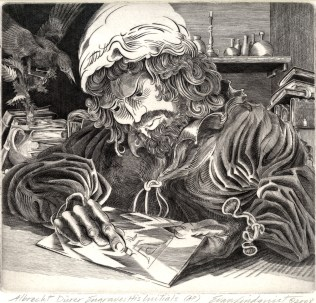Evan Lindquist (born 1936); Albrecht Durer Engraves His Initials, 2008; Engraving; Image: 8 1/4 x 8 3/4 inches