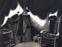 Wanda Gag (1893-1946); Interior of a Room, 1928; Wood engraving; Image: 6 x 5 3/4 inches