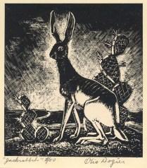 Otis Dozier (1904-1987); Jack Rabbit, nd; Wood engraving; Image: 3 3/4 x 3 1/2 inches