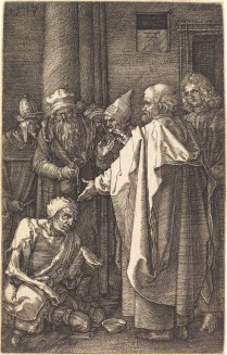 Albrecht Dürer (1471-1528); St. Peter and John Heal a Cripple at the Gate of the Temple, 1513; Engraving; Image: 4 3/4 x 3 inches
