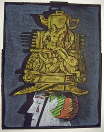 Clown with Fantastic Helmet, 1993; Screen print, drawing, sewing; Image: 953x747 mm