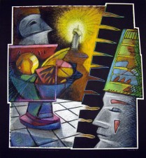 Clown's Dream of the Phantom and a Promised Ghostly Feast, 2007; Oil pastel, thread; Image: 785x721 mm