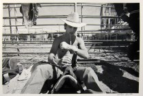 Cowboy at Fence, Cleburne, 1985; Gelatin silver print; Image: 305 x 406 mm