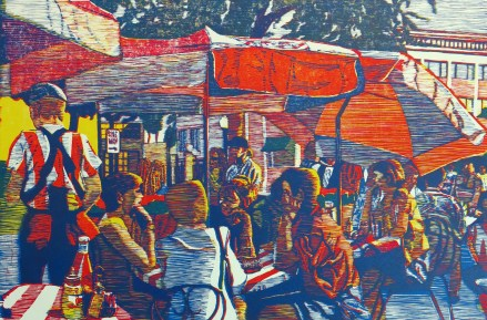 Craig Mindell; Outdoor Cafe, blocks cut 1998, printed 2014; wood relief print; image: 24 x 36 inches