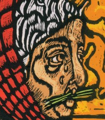 Outcast detail 3; Woodcut