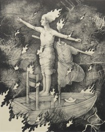 """Kathryn Polk,; Rocking the Boat, 2014 Lithograph; Paper size: 357 x 281; from the portfolio, """"Body of Christ"""""""