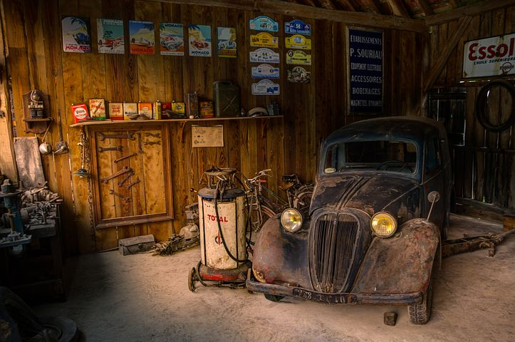 vintage car in a garage