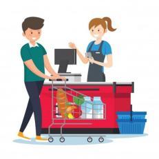 Vector Premium | Mujer, cajero, en, supermercado